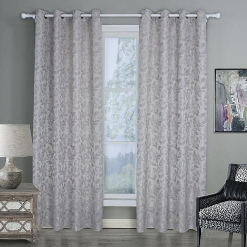 Gray Colored Leaf Pattern Curtains Jacquard Ready Made Decorative