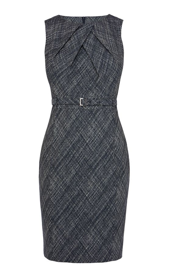 Cross Hatch Jacquard Pencil Dress | Luxury Women's work | Karen Millen