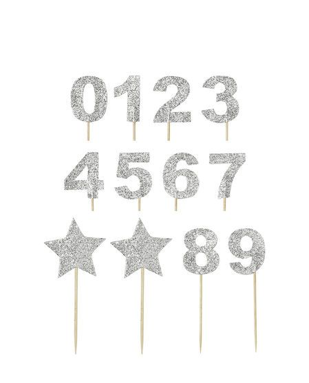 Cupcake Topper Star silver One Size