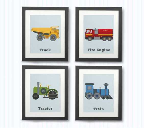 BOYS ROOM DECOR set of 4 Colorful prints by LittleGrippersStore