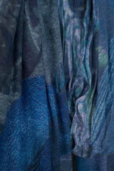 """A cool color scarf with a custom design by artist and designer Milka Rodic. """"This design was inspired by those forgotten or abandoned…"""