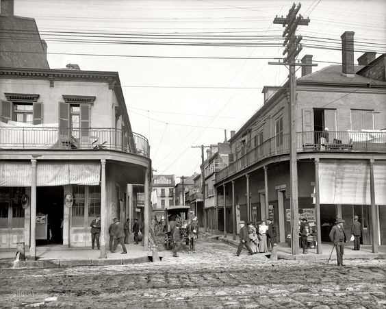 "New Orleans circa 1906. ""Italian headquarters, Madison Street."" click on pic til you get the huge enlargement. Makes all the difference. Fascinating glimpse back in time."