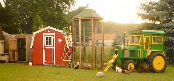 Vier heel leuke voorbeelden van alternatieve kippenhokken met gebruikmaking van een tractor en - Hoekbank hok ...