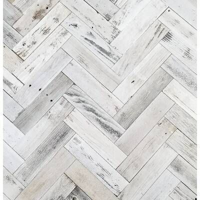 True Shiplap 7 44 X 48 Peel And Stick Solid Wood Wall Paneling In White In 2020 Wood Panel Walls Stick On Wood Wall Herringbone Wall