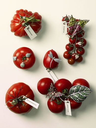 Tomatoes and Jewellery shot by Michael Baumgarten for Vogue Gioiello.