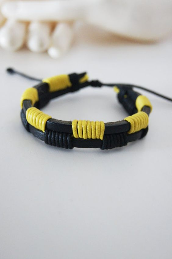 Friendship bracelet Men's leather bracelet black by ilkcanArt