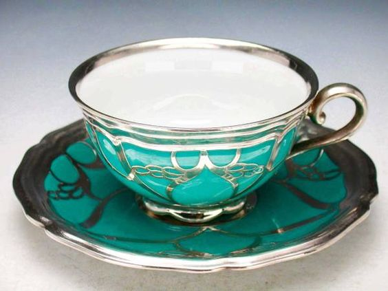 Seltmann Weiden Silver overlay 1920. i would adore a set of these. teapot and everything.
