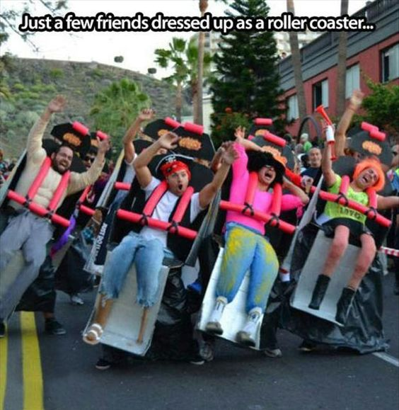 Just a few friends dressed up like a roller coaster