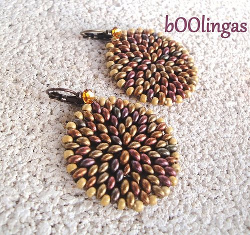 Twin Beads Earrings-I don't think I'd wear these are earrings but I would love a pendant or brooch and I really like the color mix.