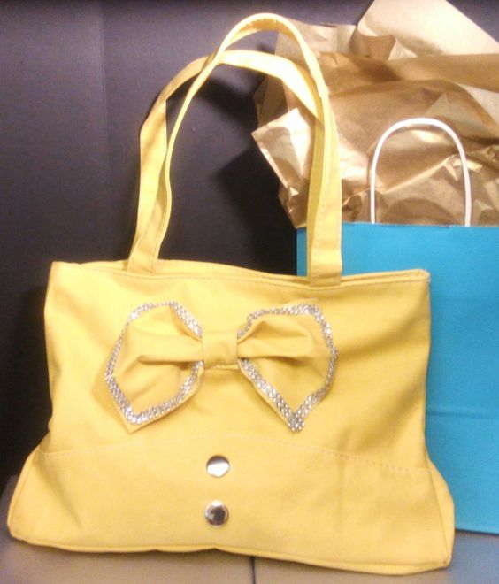 Handbag - Studded Bow Yellow