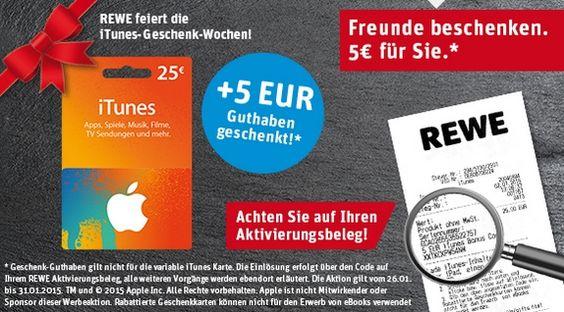 Diese Woche gibt bes bei allen REWE Supermärkten in Deutschland wieder iTunes Karten Rabatt Aktionen. Bei Kauf einer 25.- Euro Karte erhältst du somit 5.- Euro als weiteren Bonus dazu... #itunes #aktion #sparen #rabatt #gutschein