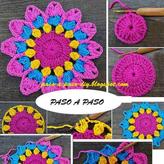 Cómo tejer una bonita flor al crochet, que puede ser base de una mandala. Paso a paso en imágenes. ...