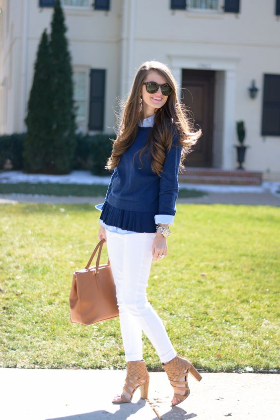 minus the blouse I think. a nice blue cami or knit sweater . lovely combination: