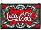 """For Sale - Meyda Tiffany Style 24""""W X 15""""H Coca-Cola Victorian Stained Glass Window 106235"""