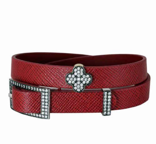 Genuine Leather Wrap Bracelet with Flower Charm Gold Plated Sterling Silver with Cubic Zirconia Gift Boxed - Red Leather