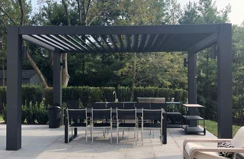 Modern Fiberglass Pergola With Fixed Louvers In 2020 Outdoor