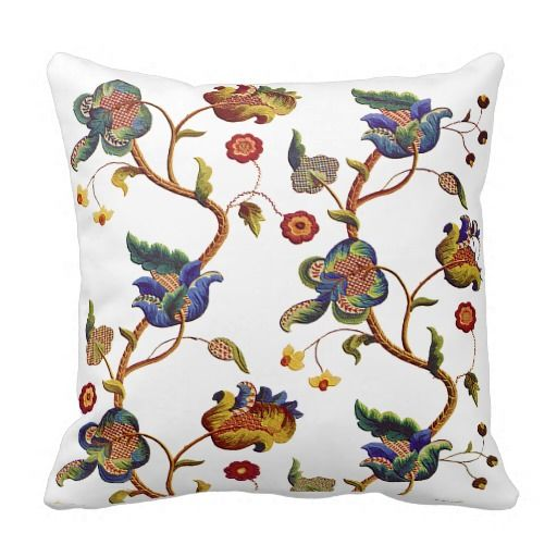 Beautiful Traditional Jacobean Crewel Embroidery Pillow