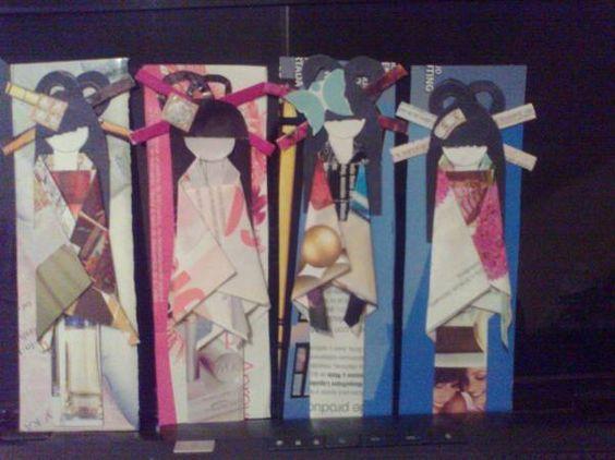 muñequitas japonesas, origami con hojas de revista