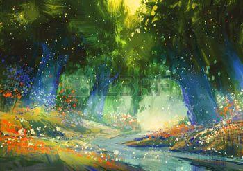 forêt enchantée: bleu et vert forêt mystique avec une atmosphère fantastique, illustration peinture