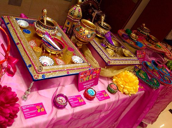 Mehndi Ceremony Explained : Hand decorated mehndi plates for oil and rasam see