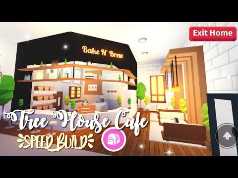 Tree House Cafe Part 1 Speed Build Roblox Adopt Me Youtube Cafe House Tree House Unique House Design