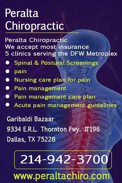 We accept most insurance     5 clinics serving the DFW Metroplex          Spinal & Postural Screenings     Pain     Nursing care plan for pain     Pain management     Pain management care plan     Acute pain management guidelines          Call - 817 385 0082          Plaza Central     2915 E. Division St. Ste. 500     Arlington, TX 76011      (817) 385-0082 Fax: (817) 385-0084     www.peraltachiro.com/