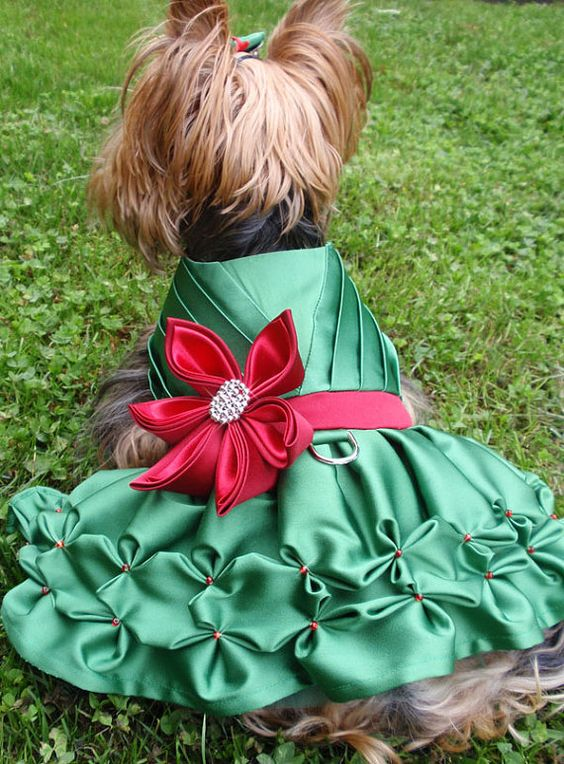 I am so in love with this dress!!! if I only had the money for my babies.. they would have new holiday dresses!!  Green and Red Dog Dress for Holidays or any Occasion by MaxMilian, $100.00