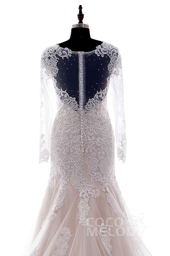 Trumpet-Mermaid Illusion Dropped Court Train Lace Ivory/Champagne Long Sleeve Zipper with Button Wedding Dress CWXT14051