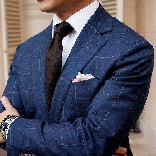 blue windowpane suit. look at that brown tie! | Suit up