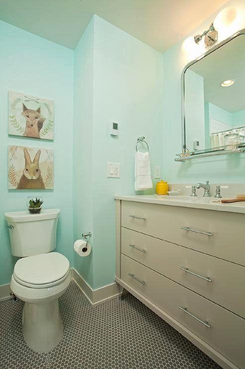 19 Aqua And Grey Bathroom Ideas In 2020 Kid Bathroom Decor