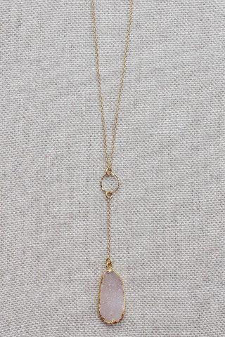 B. Alli Pink Druzy Y Necklace