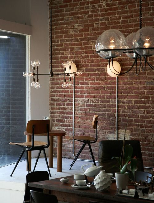 bricks and lights metal pipes can hide wires and give an industrial look to the place decor. Black Bedroom Furniture Sets. Home Design Ideas