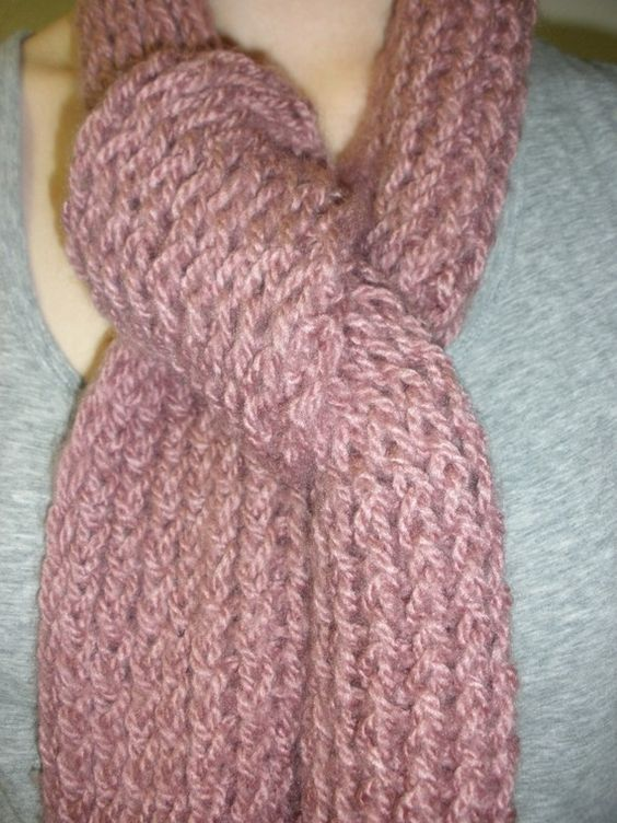 FREE SHIPPING  Knitted Scarf  Mauve by PolkaDotKreations on Etsy, $18.00