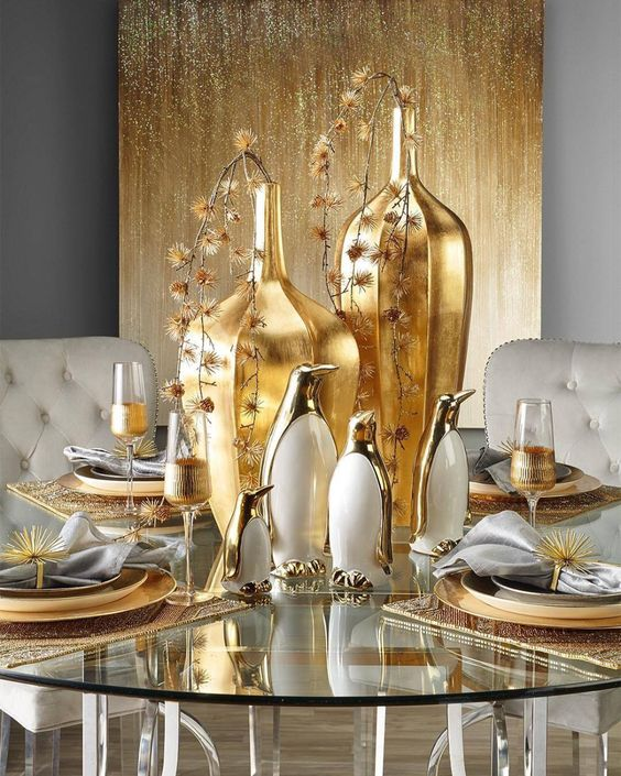 Tables decorated with mixed metals