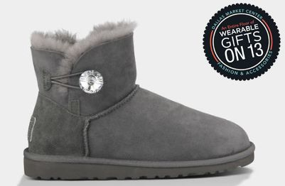The Mini Bailey Button Bling bootie by Ugg Australia adds an unexpected touch of playfulness to everything from denim to dresses. #dallasmarket #wearablegifts #ugg WTC 13-13002