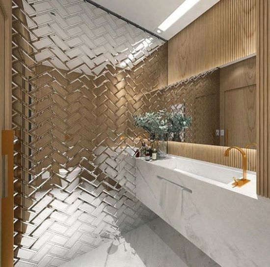 Antiqued Mirrored Tiles Mirror Tile Wallpaper For Kitchens Bathrooms Backsplashes Mirror Tiles Bathroom Amazing Bathrooms Bathroom Interior Design