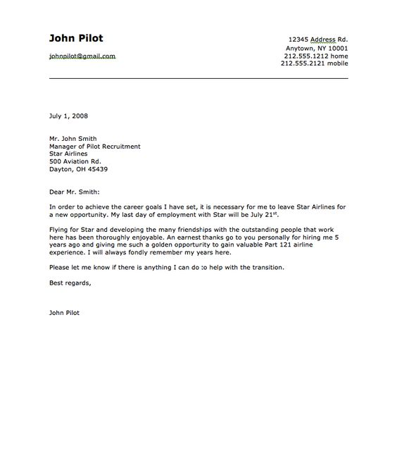 Sample Of Airline Pilot Resignation Letter - Http://Resumesdesign