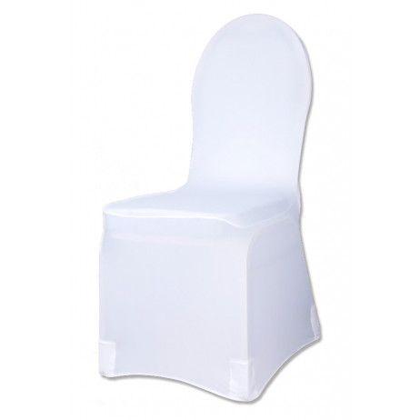 Housse De Chaise Blanche En Tissu Elastique Lycra Universelle
