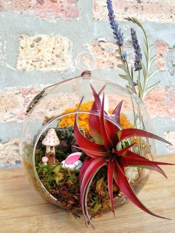 tillandsien moos arrangement kunststoff pflanzen figuren ...