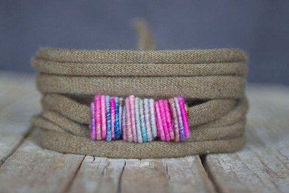 Handgemaakt koper textiel kralen wikkel armband  door jimenasjewelry