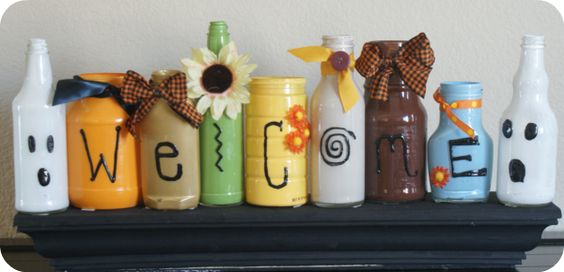 using condiment bottles and jars for kid crafts. great idea