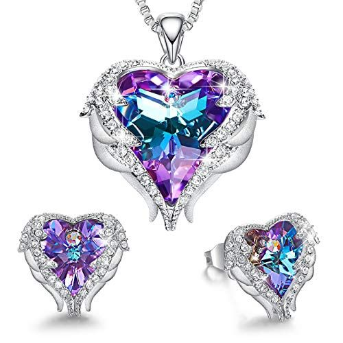 Silver Plated Heart Purple Crystal Necklace Earring Set Wedding Birthday Gift