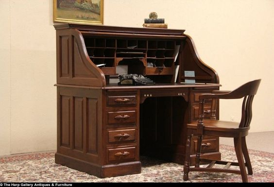 Sellew NY 1890's Antique Walnut Rolltop Desk, Raised Panels #Traditional