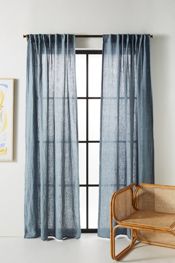 Stitched Linen Curtain by Anthropologie in Blue, Curtains