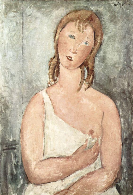 Modigliani, Amedeo: Mädchen (Giovana Rossa ) im Hemd - Gemeinfrei