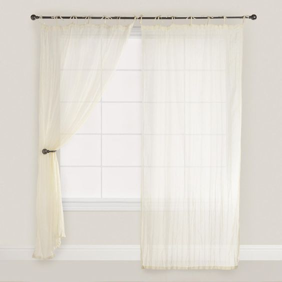 Cost Plus World Market Natural Crinkle Voile Cotton Curtains ($30 ...