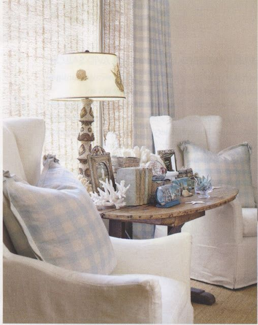 Lisa Luby Ryan...love the slipcovered chairs, rustic table  light blue buffalo check