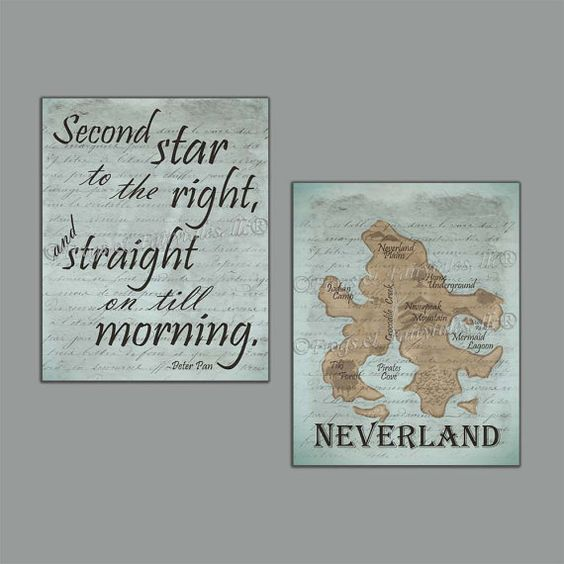Neverland Peter Pan Canvas Print Set by FrogsAndFairytales on Etsy
