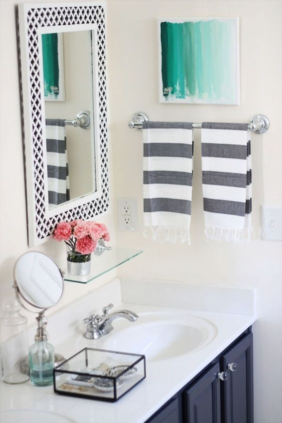 Simple bathroom, love the wash tape on the mirror! possible DIY project