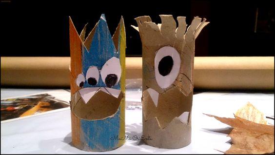 Monstruos con rollo de papel higienico http://www.mamaorienta.com/2014/10/manualidades-aprender-jugando.html